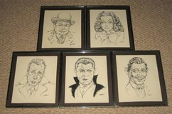 ART - 5 Framed Movie Actor Caricatures - Robinson Gable Legosi Bogart Davis in Bolingbrook, Illinois