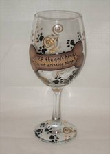 HAND PAINTED WINE GLASS - I'm not drinking alone if dog is home! - NEW in Joliet, Illinois