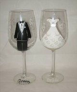 HAND PAINTED WINE GLASS - Bride & Groom - NEW in Joliet, Illinois