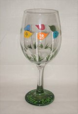 HAND PAINTED WINE GLASS - Golf / 19th Hole Theme - NEW in Joliet, Illinois