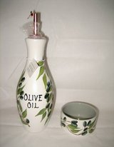 HAND PAINTED OLIVE OIL BOTTLE & MATCHING BOWL - NEW in Joliet, Illinois