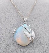 Genuine Waterdrop White Opal With Butterfly Necklace White Gold Filled in Watertown, New York