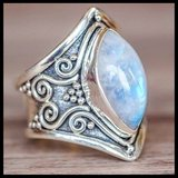 New Large Antique Boho Jewelry Marquise Moonstone Ring in Fort Drum, New York