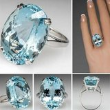 New 14 cts Mascot Crystal Sea Blue Natural Elegant Jewelry  Ring in Watertown, New York