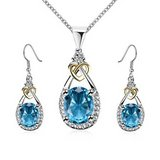 New Blue Chalcedony Pendant Necklace Earring Set In White Gold Filled in Watertown, New York