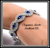 New Silver Plated Royal Blue Austrian Crystal Tennis Bracelet in Watertown, New York