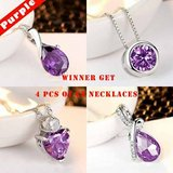New White Gold PLated AAAAA CZ Purple Jewelry 4 pcs in Watertown, New York