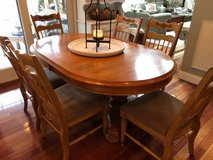 ~SOLID WOOD KITCHEN SET~TABLE, LEAF AND SIX CHAIRS in Naperville, Illinois