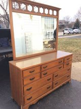 Vintage 10 drawer dresser with mirror in Bolingbrook, Illinois