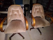 2 vintage rolling dining chairs I will be in Fairfield on 6/16 if you want me to bring this item in Travis AFB, California