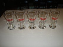 """5"" Vintage HAMM'S Born in the and of sky blue waters Beer Sham Glasses in Brookfield, Wisconsin"