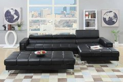 New! Black Bonded Leather Sectional Adjustable Headrest FREE DELIVERY in Camp Pendleton, California