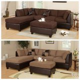 New! Chocolate Microfiber Sectional Sofa + Ottoman FREE DELIVERY in Camp Pendleton, California