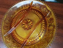 3-Part Relish Dish/Serving Platter in Sandwich Amber Glass Collect. by in Sacramento, California