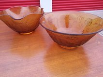 2 Large Indian Glass Amber Glass Bowls in Roseville, California