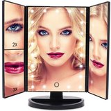 NEW vanity mirror 21 led lighted makeup with magnification trifold touch screen usb in Houston, Texas