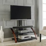 Z-Line TV Stand with Mount (Glass/Cherry Wood) - NEW! in Plainfield, Illinois