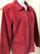 Christopher & Banks Red Pig Suede Leather Jacket Womens Small 4 6 Machine Washable Coat in Chicago, Illinois