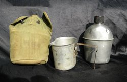 WW2 U.S. Canteen, cup and holder in Camp Lejeune, North Carolina