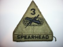 Two US Army 3rd Armored Division (Spearhead) subdued patches in Fort Belvoir, Virginia