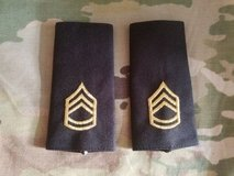 Pair (large/male) Army Sergeant First Class  E-7 embroidered shoulder board in Fort Belvoir, Virginia