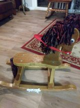 Vintage Small Children's WOODEN ROCKING HORSE with Yarn Mane and Tail in Sacramento, California
