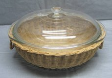 Vintage Pyrex Bowl with Lid in a Rattan / Wicker Basket in Oswego, Illinois