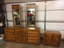Vintage oak dresser with night stand in Oswego, Illinois