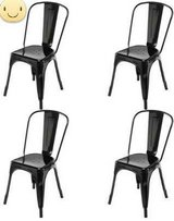Set of (4) Stackable Bistro Metal Chairs (Black) - NEW! in Chicago, Illinois