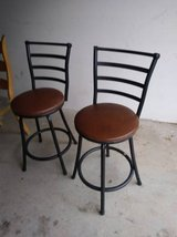 2 black metal back swivel padded bar stools in Sacramento, California