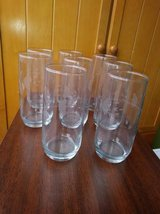 8 Etched Crystal Highball/ice Tea Glasses in Travis AFB, California