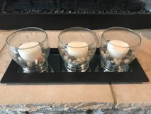 3 glass candle with wood glass in Fort Campbell, Kentucky