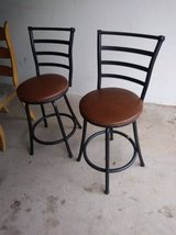 2 swivel black and brown bar stools with back in Roseville, California