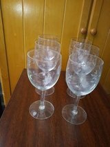 6 Crystal Etched design Wine Glasses in Roseville, California