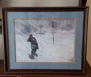 """BLIZZARD OF 1888 26"""" X 21"""" WOODEN FRAMED PAINTING in St. Charles, Illinois"""