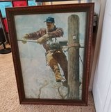"""NORMAN ROCKWELL """"TELEPHONE LINEMAN"""" NORMAN ROCKWELL FRAMED PAINTING in St. Charles, Illinois"""