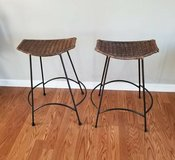 2 VINTAGE ARTHUR UMANOFF STYLE WICKER STOOLS in Glendale Heights, Illinois