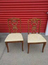 2 Beautiful Scroll Wood backed padded chairs in Beale AFB, California