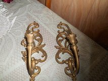 : 2 Vintage Homco / Home Interior Syroco Goldtone Wall Sconces #4531 in Bellaire, Texas