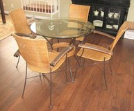 "RATTAN and WROUGHT IRON TABLE and 4 CHAIRS - 36"" GLASS TOP in Lockport, Illinois"
