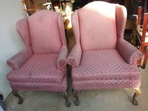 2 overstuffed privacy Arm Chairs Pink in Beale AFB, California