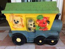 Reduced..Vintage Plastic Blow Mold Toy Box Circus Train Animals Chest 2 Piece in Westmont, Illinois