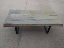 Natural wood look coffee table with Black metal legs in Beale AFB, California