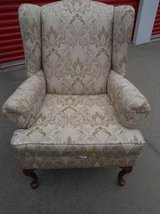 Gold and Beige Wingback Chair Wing Back in Roseville, California