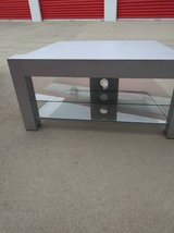 Retro Entertainment Center Glass TV Stands Stand Silver Metal 3 shelf in Roseville, California