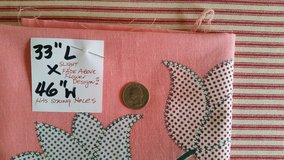 "vintage feed sack  - light pink bkgrnd with flowe  ""x"" design  33"" x 46"" + s... in Joliet, Illinois"