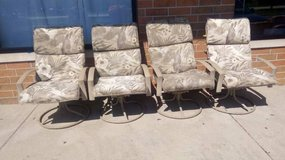 4 Nice Steel Swivel Patio Chairs with pads in DeKalb, Illinois