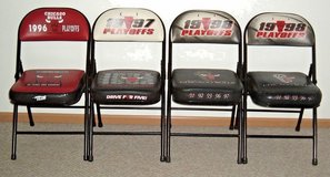 RARE Set of 4 Commemorative Chicago Bulls Players Playoff Chairs 1996 1997 1998 in Yorkville, Illinois