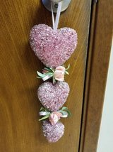Puffed pink beaded heart decor in Oceanside, California
