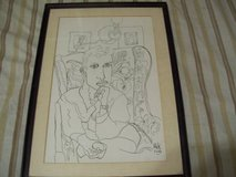 Two 1948 Ink drawings by artist H.I.K. in Yucca Valley, California